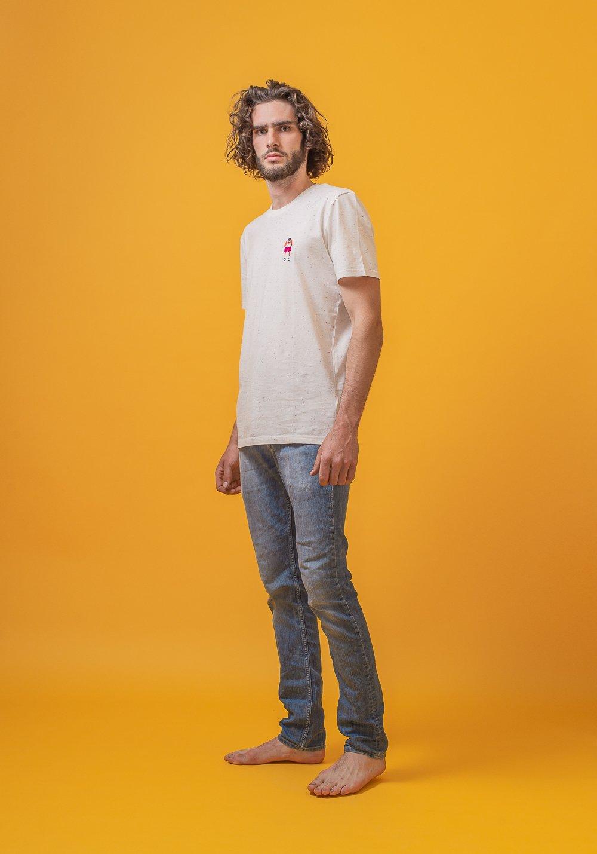 FRED + RHINO Fat Tourist Photography Tshirt Ecru Denim