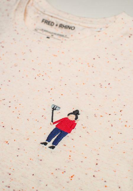 FRED + RHINO Selfie Photography Tshirt Ecru Closeup