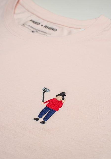 FRED + RHINO Selfie Photography Tshirt Pink Closeup